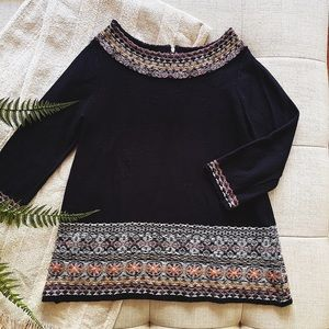 Anthro Sleeping With Snow Embroidered Sweater
